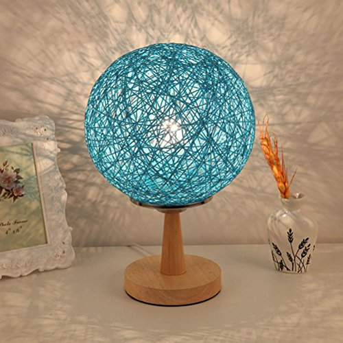 LEDMOMO Twine Sepak Takraw Lamps Bedroom Bedside Lamps Decorative Lamps with US-plug (Blue) - Blue Bamboo Lamp