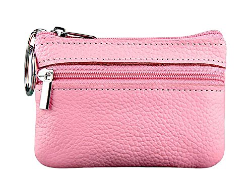 - ETIAL Womens Genuine Leather Zip Mini Coin Purse w/ Key Ring Pink