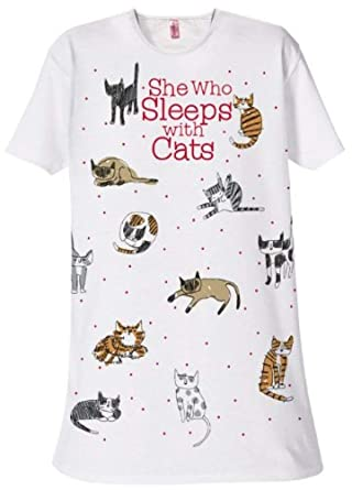 095a18bacc She Who Sleeps with Cats Sleep Shirt - White at Amazon Women s ...