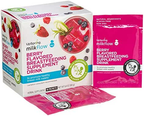 UpSpring Baby Milkflow Fenugreek and Blessed Thistle Powder Berry Drink Mix, 18 Count Lactation Supplement Packets to Promote Healthy Breast Milk Supply