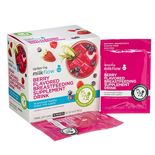 UpSpring Baby Milkflow Fenugreek and Blessed Thistle Powder Berry Drink Mix, 18 Count Lactation Supplement Packets to Promote Healthy Breast Milk Supply (Foods That Help Increase Breast Milk Production)