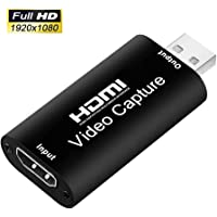 Portable Audio Video Capture Cards HDMI to USB 2.0 1080P 4K Record Via DSLR Camcorder Action Cam for High Definition Acquisition, Live Broadcasting (USB 2.0)