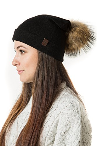 Marino Slouchy Beanie Hat for Women - Thick Soft & Warm Knit Hat - Cashmere Blend - Rabbit Fur Pompom - Gift Box