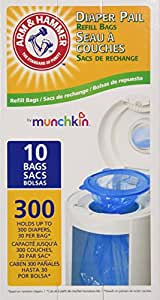 Munchkin Arm & Hammer Diaper Pail  Refill Bags, 10 Count, Pack of 3