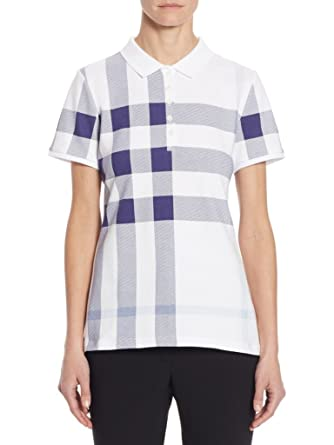 3f4f7199f BURBERRY Women's ISNA Check Print Stretch Cotton Polo Shirt in Pale Blue