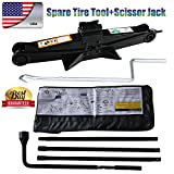 Autofu for 2000-2014 Chevy Silverado / 2000-2014 GMC Sierra Spare Tire Tool Kit with Pouch Bag and 2T Scissor Jack US Stock Fast DELIVERY