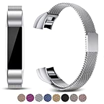 Mornex Band Compatible Fitbit Alta/Alta HR Bands Milanese Loop Stainless Steel Metal Adjustable Replacement Accessory Bracelet Fitness Wristband Magnetic Clasp