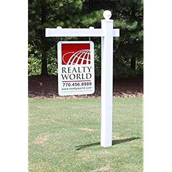 Amazon Com Vinyl Pvc Real Estate Sign Post White With