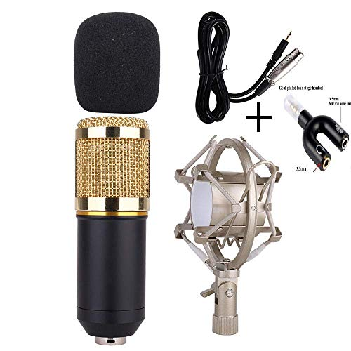 Urban Infotech Professional Studio Broadcasting and Recording Microphone Set with Boom Scissor Arm Stand, Shock Mount, Pop Filter, Ball-type Anti-wind Foam Cap and Power Cable (Blue)