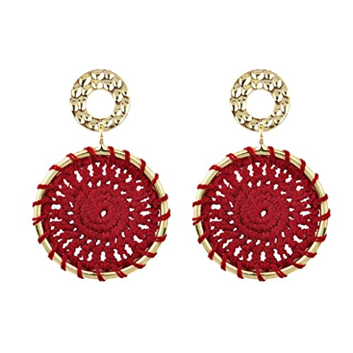 (Clearance! Elogoog Bohemia Knitted Handcrafted Big Hoop Round Ethnic Dangle Earrings Long Jewelry for Women and Girl (Red))