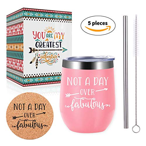 Honey's Heaven 12 oz Sippy Cup - Stainless Steel Wine Tumbler with Lid - Insulated Novelty Gift Cup, Funny Gift Mug (Pink, Not A Day Over Fabulous)