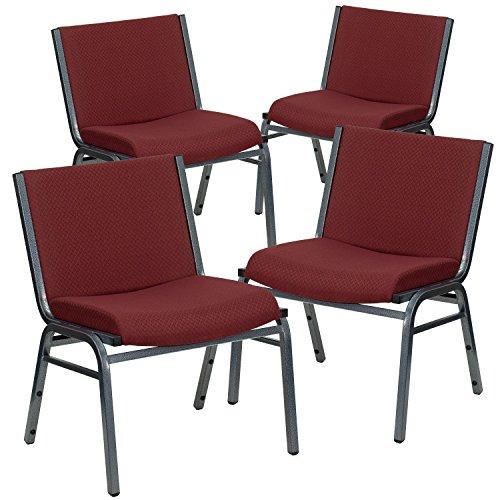 Flash Furniture 4 Pk. HERCULES Series Big & Tall 1000 lb. Rated Burgundy Fabric Stack Chair