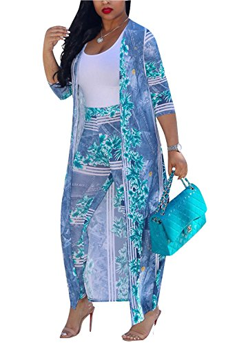 (MarcoJudy Womens Long Sleeve Stripe and Floral Cardigan Cover up Long Pants 2 Piece Suit Set Outfits (XXX-Large, 2-Blue))