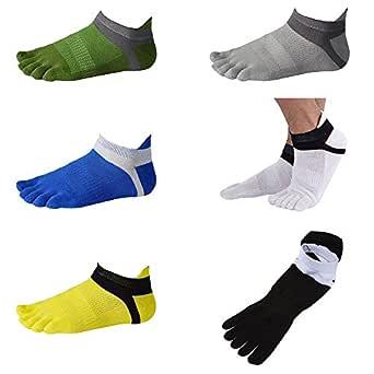 SODIAL 6 Pair Men Cotton Low Cut Athletic Socks 5 Toe Socks Mesh Wicking, black+white+yellow+blue+green+grey