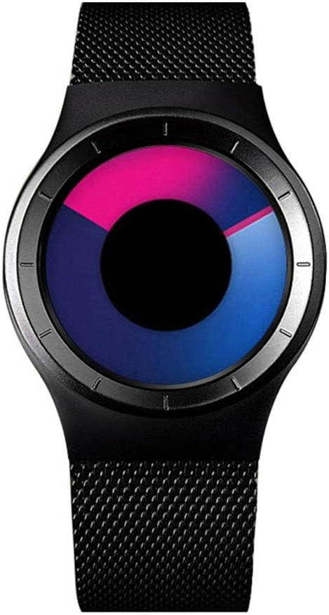ZSLLO Creative Rotation Relojes Hombre 2019 Correa de Malla de Acero Inoxidable Cuarzo Reloj Deportivo Hombres Moda Relogio Masculino (Color : B)