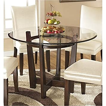 BOWERY HILL Glass Round Dining Table in Medium Brown