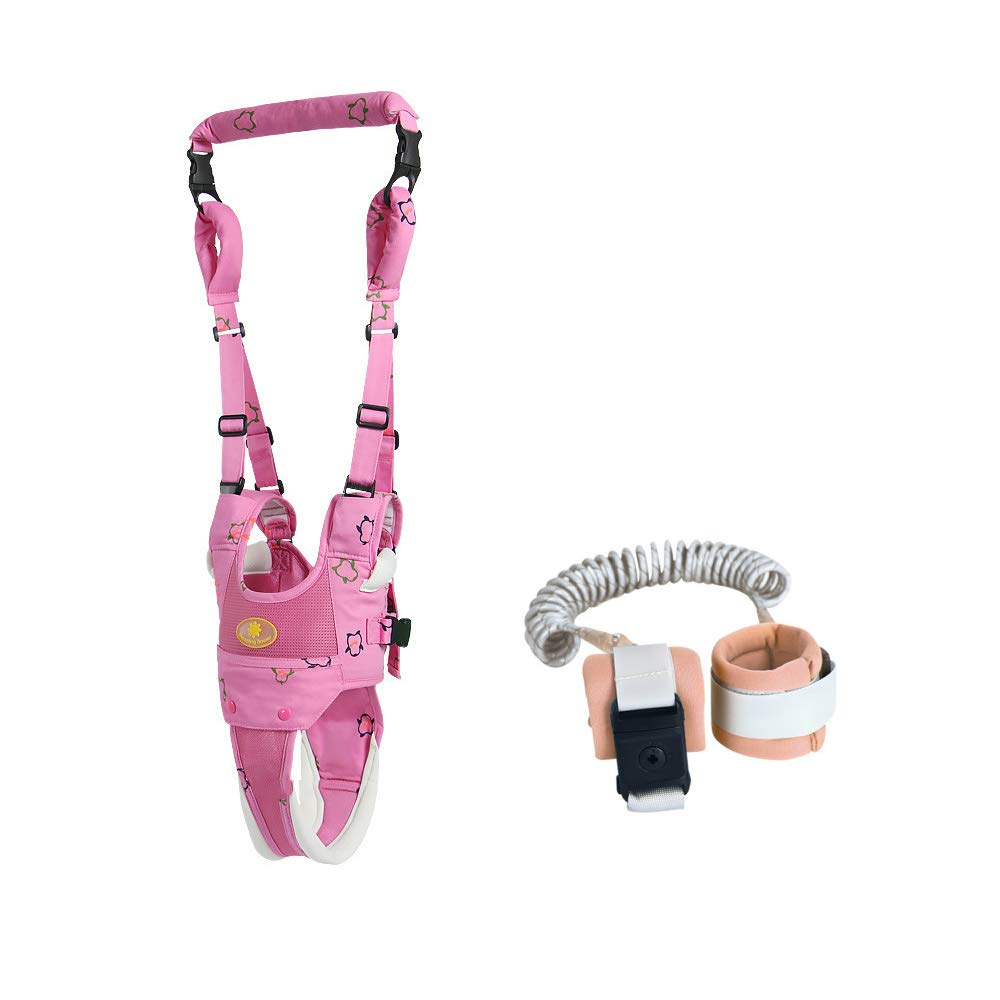 Baby Walker Toddler Walking Harness Walking Assistant and Anti Lost Wrist Link Walking Leash for Toddlers (Pink)