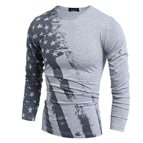 Mens American Flag Printed Long Sleeve Short Sleeve T-Shirts Pullover Hoodies Tops L Gray