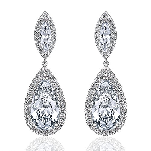 Teardrop Clear Wedding Dangle Earrings for Women or Bridal CZ Earrings for Girl minmin