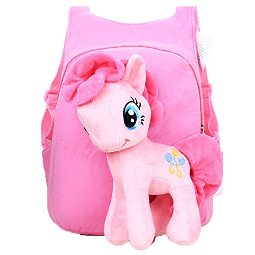 Beautiful My Little Pony Plush Backpack Horse Bag Preschool Kids Children Shoulder Bag Unicorn Pony (Pinkie Pie)