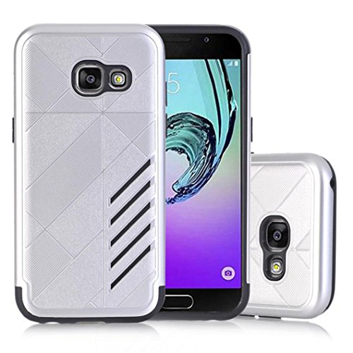 Price comparison product image For Samsung Galaxy Series, MNtech NEW Fashion Rubber Impact Armor Protective Case BackCover Hybrid Protector (Sliver, For Samsung Galaxy A3 2017)