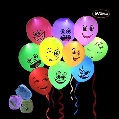 LED Party Emoji Light Up Balloons 30 Pack with Mixed Colors Flashing Light for Kids Christmas Birthday Evening Festival Decorations (30M Ribbons) -