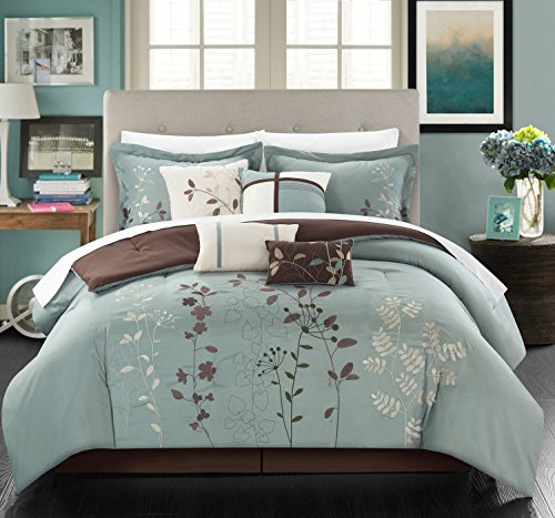 Chic Home Eljay 12 Piece Comforter Set Embroidered Floral Design Bed in a Bag Bedding - Sheets Bed Skirt Decorative Pillow Shams Included, Queen Sage Green