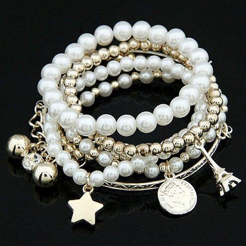 Baost Women Multilayer Beaded Bracelet Jewelry Gift Faux Pearl Alloy Pentagram Pyramid Charm Pendant Bracelet Metal Chain Wristband Bracelet for Daily Wedding Wear Random
