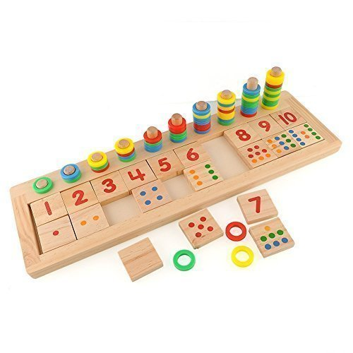 Colourful Montessori Teaching Tool Math Number Wood Board
