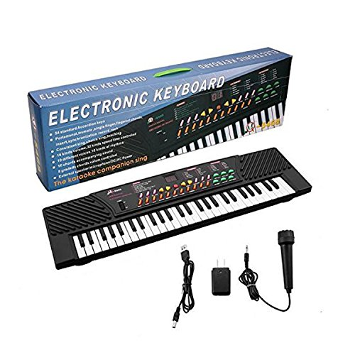 54 Key Children's - Portable Electric Music Keyboard Piano with External Speaker/Microphone & Power Adapter for Beginners and Kids by Super Marts