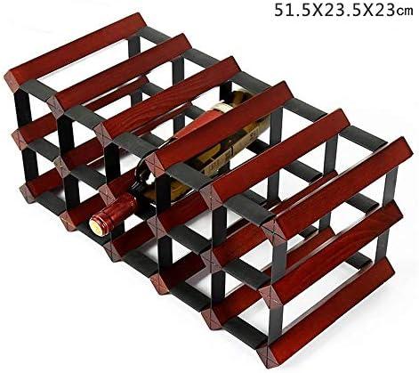 WLD Estante de vidrio de vino Estante de vino de madera maciza ...