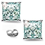 RINGJEWEL Silver Plated Princess Real Moissanite Stud Earrings (2.22 Ct,Ice Blue White Color,VVS1 Clarity)