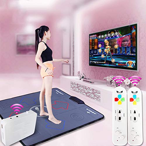 QXMEI Wireless Single Dance Mat TV Computer Dual-use Massage Slimming Dance Machine 9381CM,Black