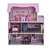 Gunel 3 Level Dollhouse - Toy Family House with 13 pcs Furniture, Play Accessories, Cottage Uptown Doll House, Doll Playhouse Cottage Set (Pink)
