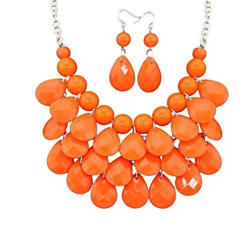 megko Women's Multilayer Teardrop Statement Bib Necklace Set With Earrings Orange (Drop Bib Necklace)