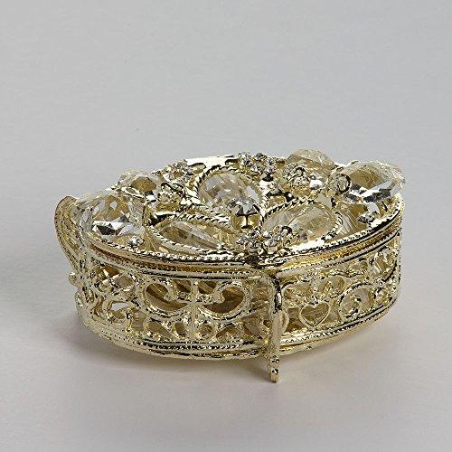 (Gold Plated Oval Shaped Arras Chest - COFJC004 - Arras de Boda - Unity Coin Holder - Wedding Coin Box - Arras de Matrimonio Cofre de Boda)
