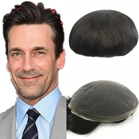 Toupee for men N.L.W. European human hair mens toupee with SOFT THIN Super Swiss lace, 10 x 8 human hair pieces for men #1b Off black color