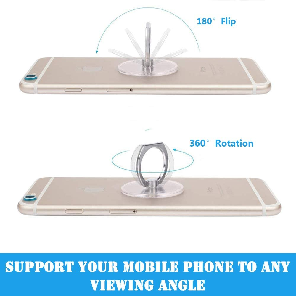 Square IHUIXINHE Cell Phone Ring Holder 4PCS 360 Degree Rotation and 180 /°Flip Transparent Finger Ring Stand Holder Kickstand Compatible with Most of Smartphones Tablet and Phone Case