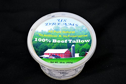 100% Grass Fed Beef Tallow 1 lb. (16 oz.) one pound by US DREAMS