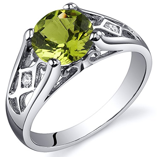 - Peridot Cathedral Ring Sterling Silver 1.25 Carats Size 8