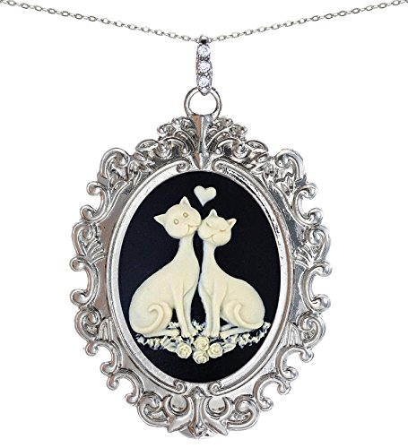 (Stunning Cameo Vintage Lace Necklace Big Pendant Jewelry (Rose Cat))