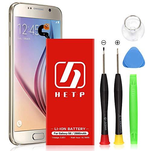 Galaxy S6 Battery Replacement 2800mAh,HETP Upgraded Internal Li-Polymer Battery EB-BG920ABE Replacement for Samsung Galaxy S6 G920A G920P G920T G920V with Free Tool Kit -18 Month Warranty