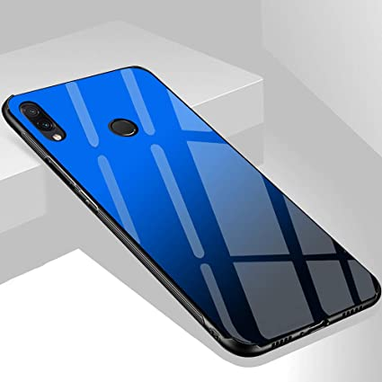 designer fashion 101ab aef99 TheGiftKart Luxurious Toughened Glass Back Case with Shockproof TPU Bumper  Back Case Cover for Honor Play (Blue & Black)