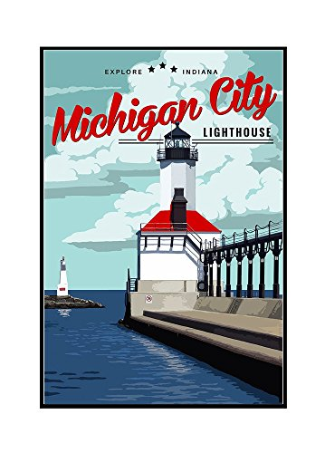Indiana - Michigan City Lighthouse (16x24 Framed Gallery Wrapped Stretched Canvas) (Michigan City Lighthouse)