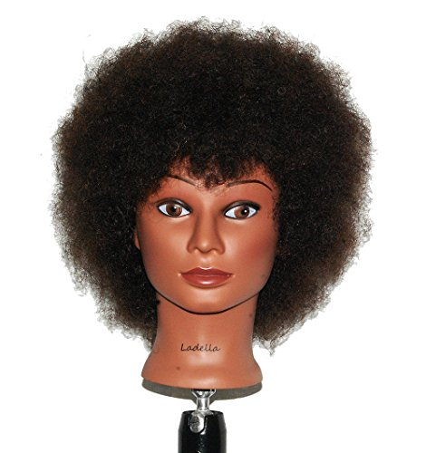 05c136f1f48d9 Ladella Beauty Cosmetology Mannequin Afro Head 100% Human Hair Hairdresser  Training Head Manikin Doll Head