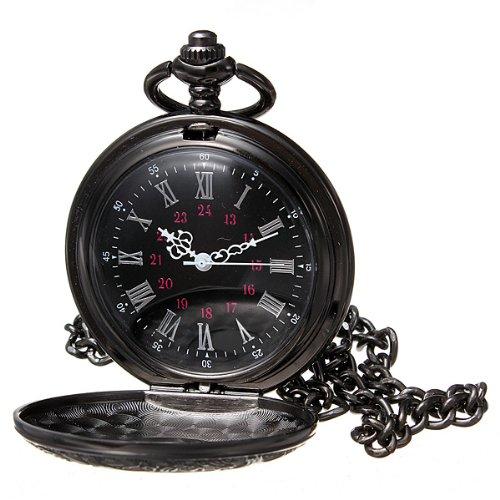 Vintage Hollow Roman Flower Alloy Black Men Women Pocket Watch DDStore (Costume Pocket Watch)