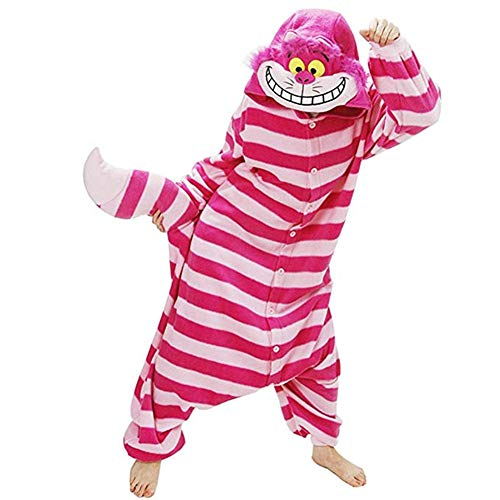EVELS Unisex Adult Anime Pajamas New Halloween Cheshire Sleepwear Animal Zip up Flannel Onesie Pajamas Cosplay Costume (Pink-Cat, S)