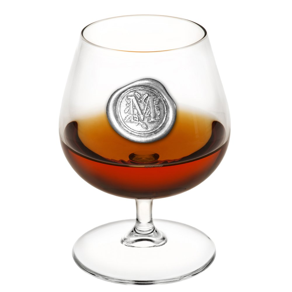 English Pewter Company 14.5oz Brandy Cognac Snifter Glass With Monogram Initial - Unique Gifts For Men - Personalized Gift With Your Choice of Initial (M) [MON213]