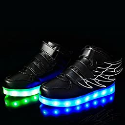 Ausom Kid Boy Girl Upgraded USB Charging LED Light Up Sport Wings Shoes Flashing Fashion Sneakers