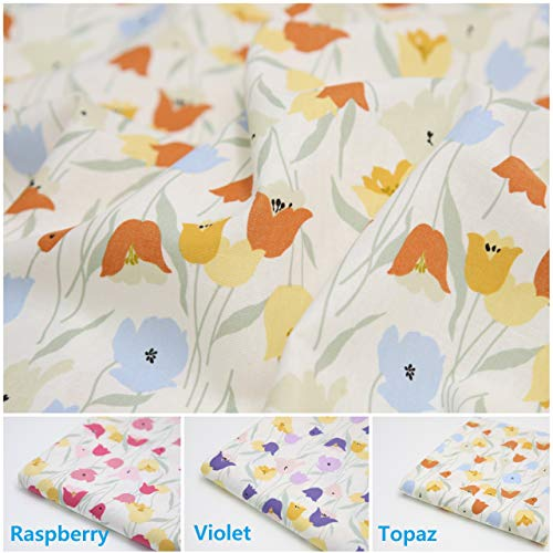 (COTTONVILL Linen Blend Flowers Quilting Fabric 2yd, Tulip)